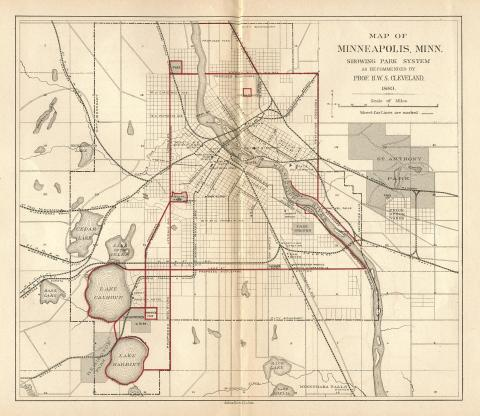Horace Cleveland proposed this system of parks and parkways in 1883. (Minneapolis Park and Recreation Board)