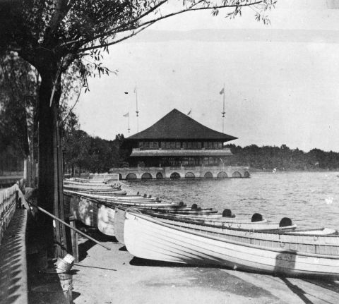 The park board's boats for rent next to the Lake Harriet pavilion in 1895. (Minnesota Historical Society)