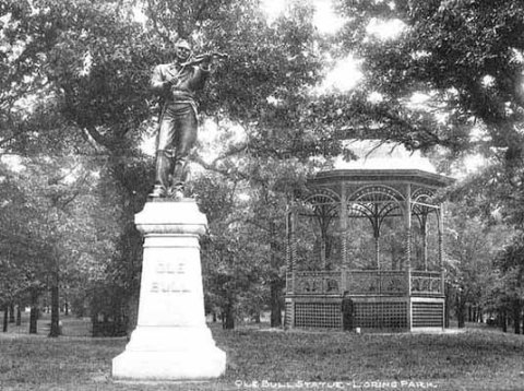 This statue of Norwegian violinist and composer Ole Bull was placed in Loring Park in 1897, shown here about 1900. (Minnesota Historical Society)