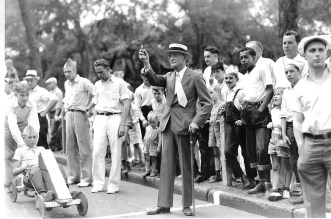 Francis Gross was the starter for the Pushmobile Derby in 1936, two years before he wrote his autobiography. (Minneapolis Park and Recreation Board)