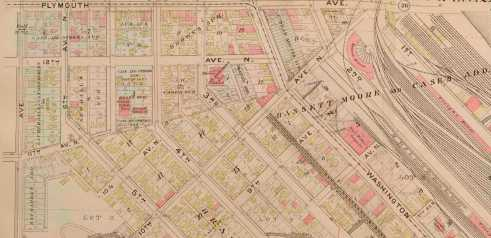 """This image of the north Minneapolis is from the 1892 plat book. Ply.mouth Avenue is at the top, Lyndale at far right and Washington angling inot the picture from lower right. Gross livedin the """"blue"""" block at the top of this map."""