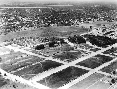 Diamond Lake, center, looking northwest. Pearl Park is upper right and the future Todd Park at center right. Lake Harriet and Lake Calhoun are near horizon. (Minneapolis Park and Recreation Board)