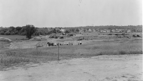 Filling and grading Pearl Lake. View looking west near 54th St. (Minneapolis Park and Recreation Board)