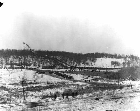 The ski jump at Glenwood (Wirth) Park in 1923 (Charles Hibbard, Minnesota Historical Society)