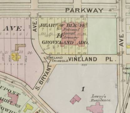 The green space to the right of the Armory was the site of the SAFOH Garden. Lyndale Avenue is at right. Kenwood Parkway, which no longer goes through, is at top. Lowry's residence is where the Walker Art Center is now. (1914 Plat Map, relfections.mndigital.org)