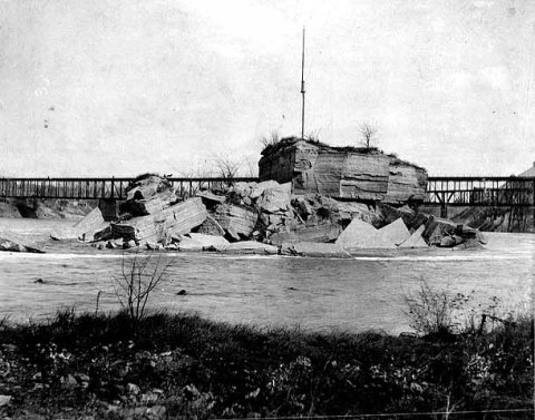 The destruction of Spirit Island. (MInnesota Historical Society)