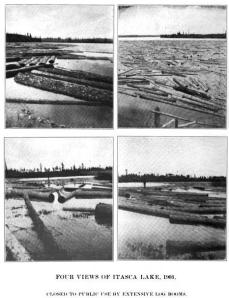 Lake Itasca as log reservoir, 1903. (Illustrated History of Itassca State Park)