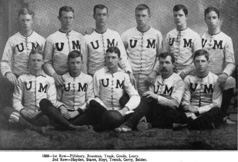 Alfred F. Pillsbury (first row, far left) with his 1888 teammates. This was the third year of his seven year career with the Gophers. He was captain of the 1887 and 1889 teams. He began his playing days in 1886 as a linemman, but at only 142 pounds he was soon shifted to quarterback. His size is not as small as it would seem by today's standards. Players who weighed 200 pounds were considered gigantic.