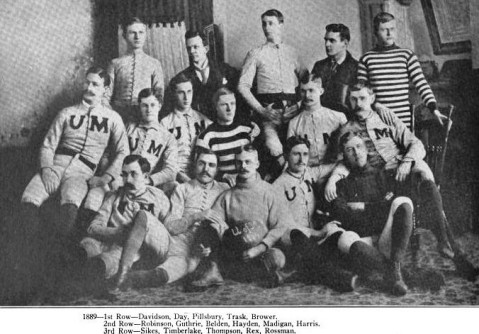 The 1889 Gophers were a more relaxed outfit. Pillsbury, the captain, is front center.
