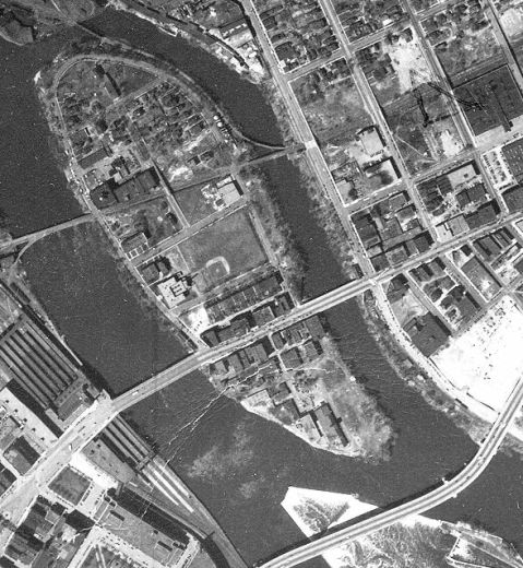 Nicollet Island, 1947, with a baseball field in the middle. (John R. Borchert Map Library, University of Minnesota)