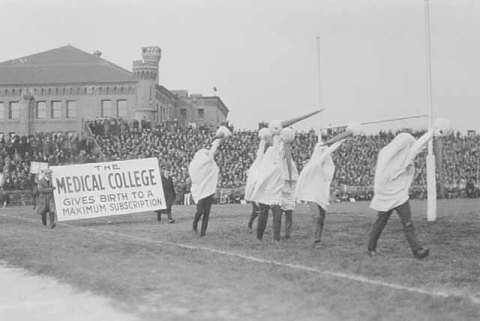Medical school students demonstrating support for a new stadium about 1920. (Minnesota Historical Society)