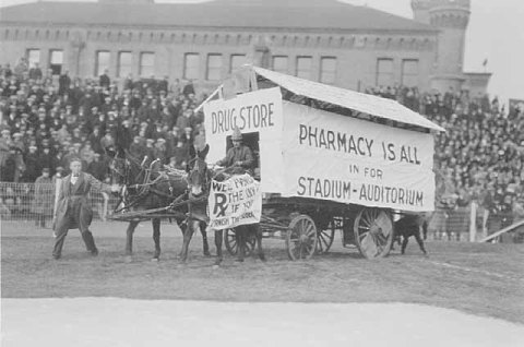 Pharmacy students demonstrating for a new stadium. (Minnesota Historical Society)