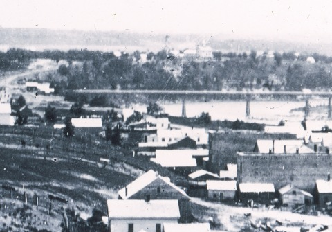 Cheever's aTower and Hotel appear at the very center of this picture on the near horizon. This detail is from an image created by Tom Trow from a lantern slide that appears to be from a photo by Benjamin Frnaklin Upton.