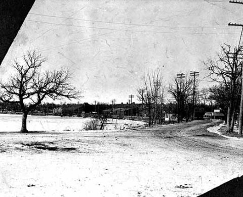 The north shore of Lake Calhoun from Lake Street, facing west in about 1902.