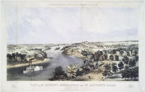 An illustration of the view from Cheever's Tower in 1857 by Edwin Whitfield from the digital gallery of the New York Public Library.