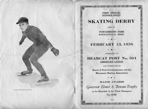 Program from 1938 speedskating event at Powderhorn Park, featuring photo of Roger Mosiman (Gayle Meadows Mosiman)