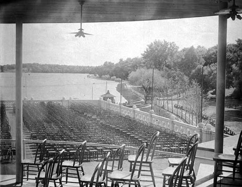 View from the bandstand on top of the Lake Harriet Pavlion in 1905. (Minnesota Historical Society)