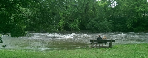 A roomantic interlude at the famous rapids of Minnehaha Creek. This is only a few yards upstream from the Hiawatha statue. (David C. Smith)
