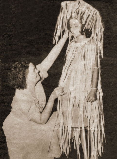 Alice Dietz, creator and director of the playground pageants, with ten-year-old Bea Dunlap from Farview Park in 1939. Bea is dressed as a raindrop. (Photo courtesy of Bea Dunlap.)