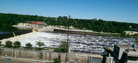 High water over the Ford Dam June 21, 2014. Late last summer at one time there was no water flowing over the dam and below the dam was mostly dry land. (David C. Smith)