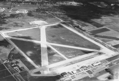 "Wold-Chamberlaind Field, Minneapolis's airport, 1941. Owned and developed by the Minneapolis park board, 1926-1943. One of the only success stories when the park board was asked to develop something other than a ""park."" (Minneapolis Park and Recretion Board.)"