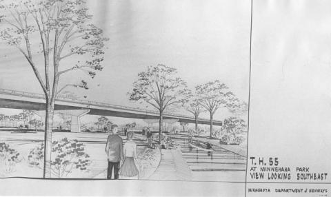The Minnesota Department of Highways' first depiction of the elevted freeway it planned for Trunk Highway 55, Hiawatha Avenue, through Minnehaha Park. The illustration is dated 2-14-1968.