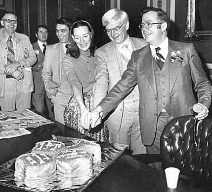 The driving force behind the park board's defense of its land was better known as a Minnesota legislator and President of the Minnesota Senate from 1977-1981. Ed Gearty, far right, was President of the Minneapolis Park Board in 1962 when he was elected to the Minnesota House of Representatives. He had to resign his park board seat, but was then hired by the park board as its attorney. He helped devise a pugnacious strategy that helped keep park losses to freeways as small as they were. This photo with other state lawmakers was taken in 1978.