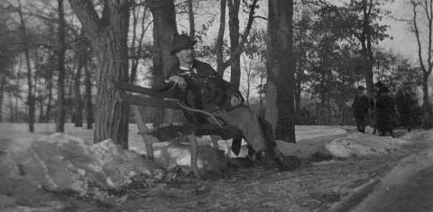 Resting on a bench in Minnehaha Park, January 1899.  Judging from the hat, this may be the same man posing in front of the falls. (Photo courtesy Edward Tobin Thompson)