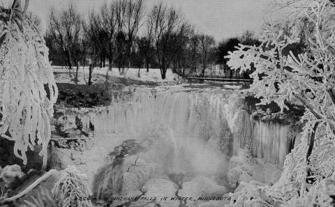 Minnehaha Falls on a postcard around 1910.
