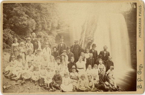 The congregation of St. Peder's Danish Evangelical Luthern Church at Minnehaha Falls in 1886 -- before the falls became a park. Some parishioners must have had large families of daughters. (Hennepin County Library, Special Collections)
