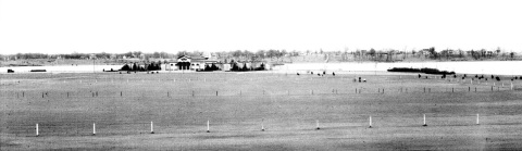 The new playing fields and bath house at Lake Nokomis. Construction of the bath house was completed in 1920, not long before this photo was taken. The barren landscape -- on both sides of the lake -- is surprising. This is one of many park board photos that may become available to the public in the near future through the Minnesota Digital Library. (Minneapolis Park and Recreation Board.)