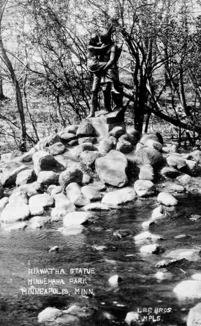 Hiawatha and Minnehaha in their customary place above Minnehaha Falls. I chose this pciture not only because Hiawatha is climbing a huge pile of rocks, unlike today, but also because ithis is a Lee Bros. photo, the same photographers who shot the photo of Fjelde below.