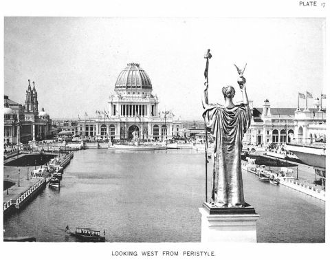Dnaiel Chester French's enormous Republic looms over the central pool at the Columnian Exposition in 1893.