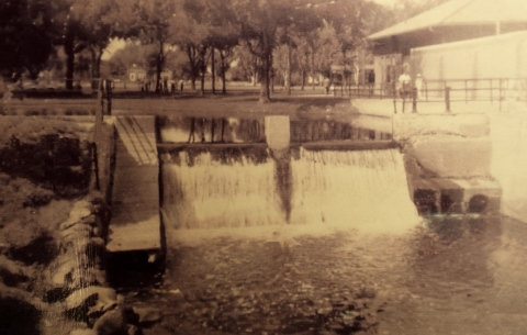 "The dam on Shingle Creek next to the old pool and library at Webber Park, where Earl Baker worked. The wall at right surrounded the pool. The pool was built originally to be filled with water from the creek, but as the creek became more polluted, city water was used. Marge Siers didn't know when the photo was taken or who took it, but remarked that in her childhood ""photo taking cost money so they were reserved for special occasions."""