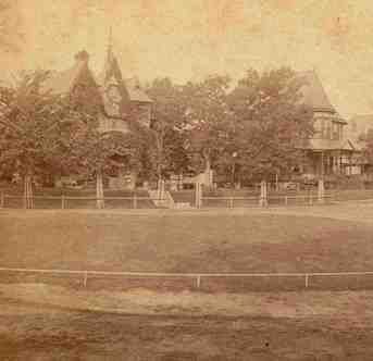 """The title on the photo is """"Highland Avenue, Oak Lake Division."""" but the open space in the middle of the photo can only be Highland Oval. The view is looking northwest. (Photo by Charles E. Tenney, used with permission of owner.)"""
