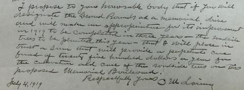 1919-02-04 letter suggesting Memorial Drive perpetual care donation